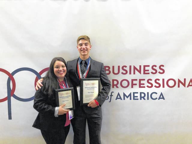 Gallia Academy brought home two of the top three places in Cyber Security at the recent Business Professional of America National Leadership Conference in Anaheim, Calif. Freshman Seth Nelson took first place against students from all over the country in the highly competitive event while Mackenzie Yarder, also a freshman, took third. The competition which involved a rigorous exam on the state level progressed to presentations and further training that was completed at the conference. Pictured are Nelson and Yarder with their awards.