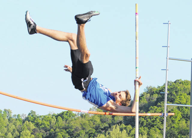 Gallia Academy sophomore Evin Little clears the bar in the pole vault event on Monday at the 2019 Battle for the Anchor meet held at Gallia Academy High School in Centenary, Ohio.