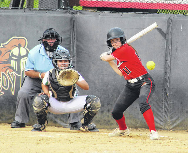 Point Pleasant freshman Julia Parsons prepares to swing at a pitch during the second inning of Wednesday night's Class AA Reion IV, Section 1 winner's bracket semifinal contest against Winfield in Point Pleasant, W.Va.