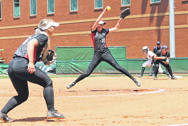 Rio Grande's Raelynn Hastings fires a pitch plateward during Monday afternoon's 4-1 loss to Georgia Gwinnett College in the opening round of the NAIA Softball National Championship at the Grizzly Softball Complex in Lawrenceville, Ga.