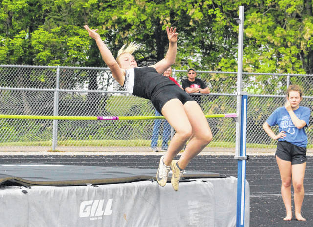 River Valley sophomore Taylor Huck clears the bar in the high jump final Thursday at the 2019 TVC Ohio Championships held at River Valley High School in Bidwell, Ohio.