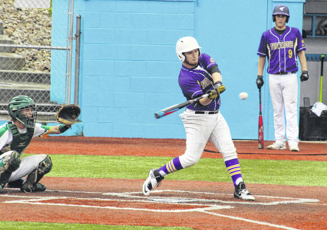 Southern junior Coltin Parker swings at a pitch during the fourth inning of Thursday afternoon's Region 15 semifinal against Newark Catholic at Beavers Field in Lancaster, Ohio.
