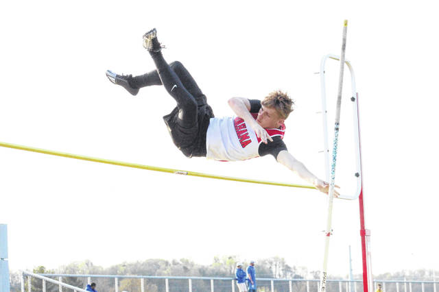 Wahama sophomore Aaron Jordan clears the bar on an attempt in the pole vault event at the 2019 Meigs Open held on May 7 at Farmers Bank Stadium in Rocksprings, Ohio.
