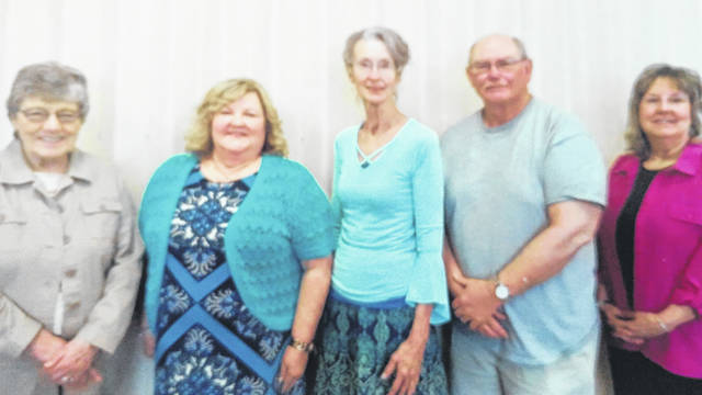 Karen Butt, left, Liaison for Southeastern Ohio Retired Teachers Association, recently installed the following new officers for 2019-2021 for the Gallia County Retired Teachers Association: President Gail Belville, second from left, Vice-President Karen Polcyn, Treasurer Jack James and Secretary Chris Williams.