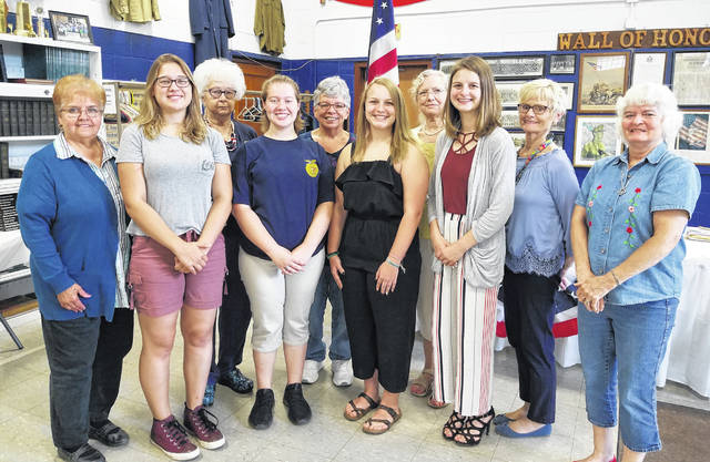 Auxiliary members, Girls State Participants and a parent are pictured at the meeting. Pictured are (left to right) Kathryn Johnson, Addalynn Matson, Marge Fetty, Raeven Reedy, Kathy Thomas, Hannah Faulisi, Vicki Griffin, Hailey Blankenship, Lily Kloes and JoAnne Newsome.