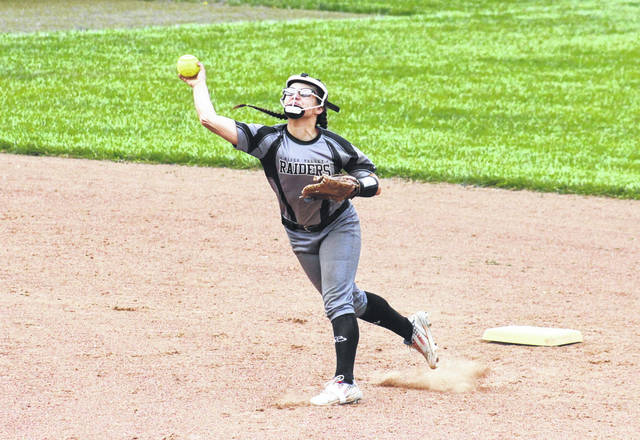RVHS senior Cierra Roberts fires to first base, during the Lady Raiders' win on April 17 in Rocksprings, Ohio.