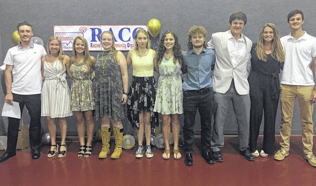 RACO Scholarship recipients in attendance at the banquet were (left to right) Noah Diddle, Madison Lisle, Peyton Anderson, Baylee Grueser, Kathryn Matson, Mallory Johnson, Reece Reuter, David Dunfee, and Abby Cummins.