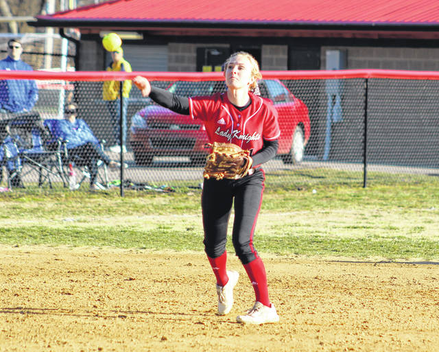 Point Pleasant junior Peyton Jordan makes a throw from the shortstop position during a March 26 softball contest against Ripley in Point Pleasant, W.Va.