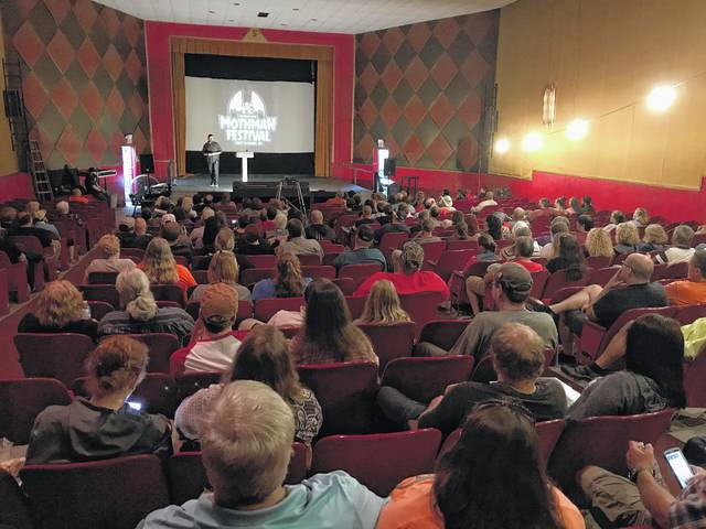 "Pictured is a scene from the 2017 Mothman Festival, where filmmaker Seth Breedlove screened his film, ""The Mothman of Point Pleasant"" at the historic State Theater. Breedlove, and Mothman Museum Director Jeff Wamsley will appear on Friday at the Bossard Memorial Library for a program on Mothman, with Breedlove appearing at the museum on Saturday."