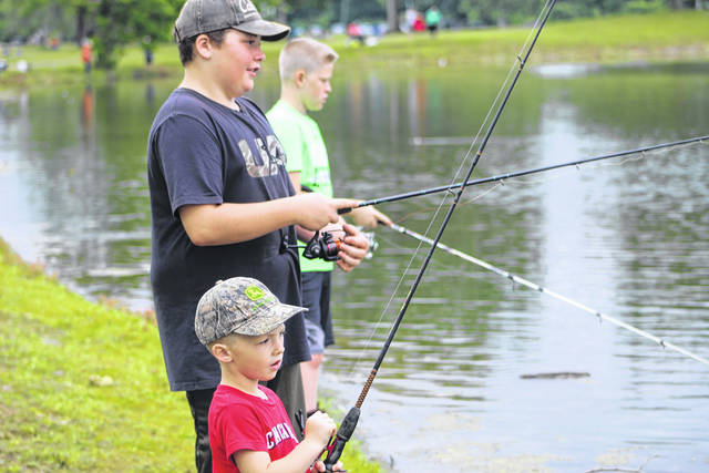 Casting a line at Krodel Park during the annual Fishing Rodeo held last weekend. The rodeo is sponsored by the Family Resource Network.