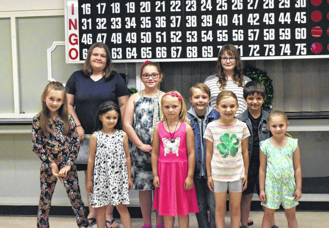 Participants in the 4-H Food and Fashion Review included (back row) Melinda Lawson, Elizabeth Spires; (front/staggered, left to right) Lakin Ridenour, Alana Ridenour, Kristina Weakley, Alexis Schaefer, Manuel Kole Gheen, Paige Smith, Gage Clary, and Aubrey Brown.