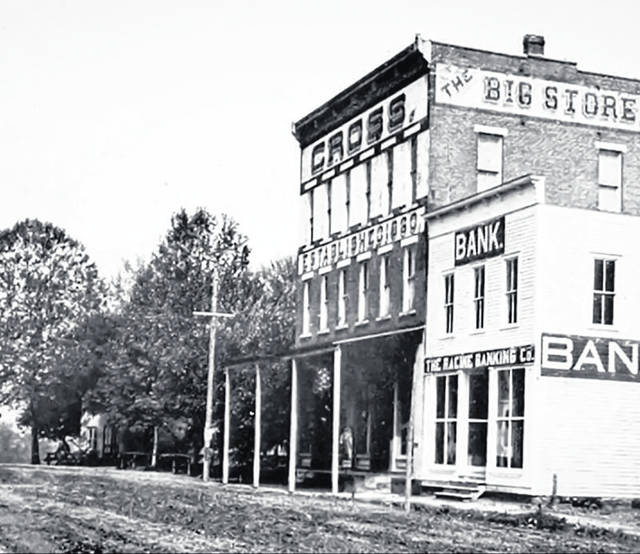 Cross's Store and the Racine Banking Company stand side by side in this photo taken around 1900.