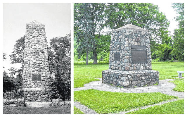 At left, the original Buffington Island monument built in 1931, which was replaced after falling into despair. At right, the Buffington Island Monument as it stands today. The Battle of Buffington Island will be remembered this weekend with the Buffington Island Battlefield Memorial Service at 11 a.m. on Saturday, July 20. The service is sponsored by the Ohio Dept. Sons of Union Veterans of the Civil War and Ohio History Connection. The service is scheduled to include remarks by Ohio Dept. Commander Shane Milburn, Cadot-Blessing Camp #126 Sr. Vice Commander Sam Wilson, as well as participation by Benjamin Fearing Camp #2 Commander Norm Pape and Chaplin Andy Francis. Music will be played by Steve Free, with Bill McCreedy of Cadot-Blessing Camp #126 to play Taps. Following the service will be lunch at the Portland Community Center.