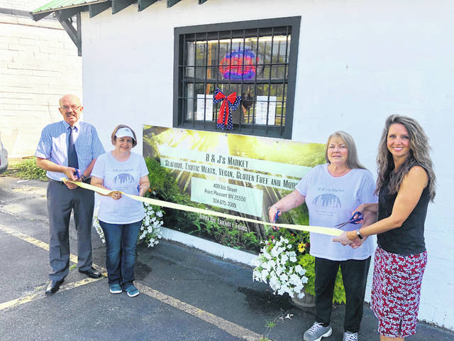 City of Point Pleasant officials recently welcomed B&J's Market located at 409 6th Street. The market offers seafood, exotic meats, vegan and gluten free food options and more. Pictured at the ribbon cutting, from left, are Mayor Brian Billings, Jenny Newell and Chris Gibbeaut both from the market and City Clerk Amber Tatterson. B&J's Market is open Monday-Saturday, 10 a.m. - 7 p.m. and Sundays, noon to 4 p.m. Phone 304-675-3399 for more information or follow the market on Facebook.
