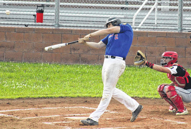 Brody Jeffers delivers a hit during a July 16 American Legion baseball game against Beverly-Lowell at Meigs High School in Rocksprings, Ohio.