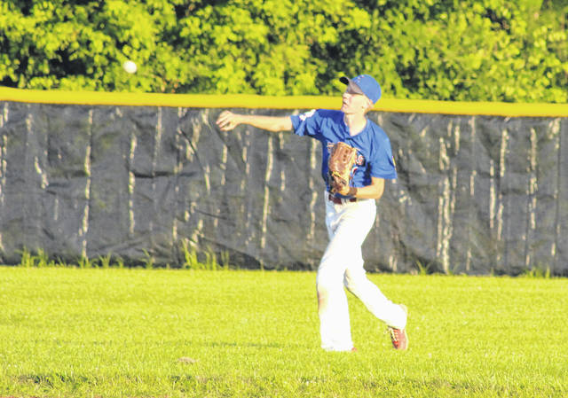 Post 39 outfielder Cooper Peters relays a throw to the infield during a June 26 American Legion baseball contest against Ripley at Meigs High School in Rockspring, Ohio.