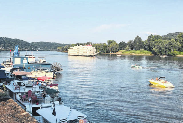 The Queen of the Mississippi passed by Pomeroy on Friday evening as several sternwheelers and other boats were in the area for the Big Bend Blues Bash.
