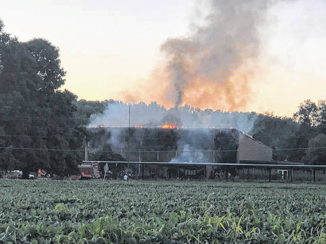 The old Kyger Creek/River Valley High School burns Saturday evening. Five area fire departments joined in mutual aid to put out the flames.