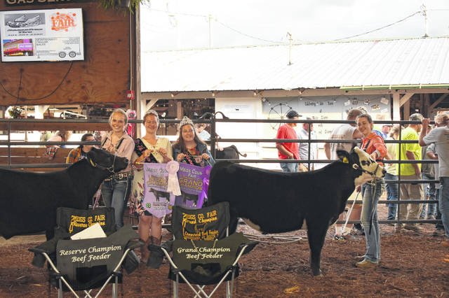 MacKenzie Newell (right) showed the Grand Champion Beef Feeder and Becca Pullins showed the Reserve Champion Beef Feeder during Tuesday evening's show. Also pictured are Meigs County Fair Royalty Queen Gabrielle Beeler and First Runner-Up Raeven Reedy.