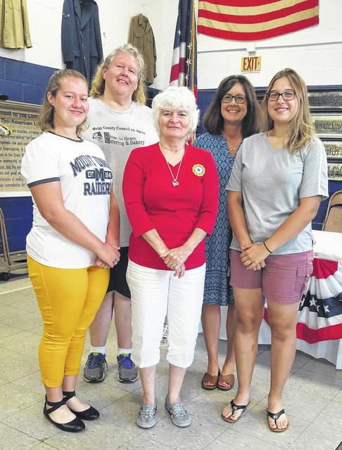 Girls State participants are pictured with family, sponsors and auxiliary representatives. Pictured (from left) are Raeven Reedy, Rhonda Rathburn, JoAnne Newsome, Tina Rees and Addalynn Matson.