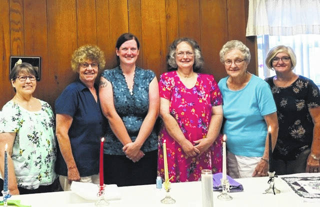 Pictured are (left to right) officers Judy Morgan, Leader; Cindy Hyde, Co-Leader; Mary Beth Morrison, Secretary; Mary Bush, Treasurer; Roberta Henderson, Weight Recorder; Pat Snedden, Assistant Weight Recorder.