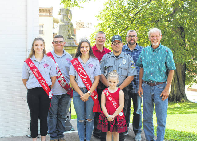 Senior Fair Board Member Brent Rose and 2018 Meigs County Fair Royalty King Austin Rose, Queen Mattison Finlaw, Livestock Princess Raeann Schagel and Little Miss Morgan Durst are pictured with the Meigs County Commissioners at Thursday's meeting.