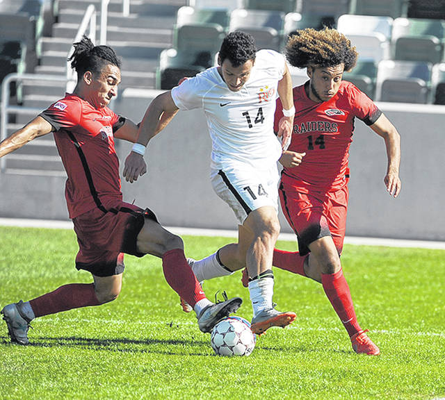 Rio Grande sophomore Nicolas Cam Orellana, shown here in last season's loss to Missouri Valley College in the NAIA national quarterfinals, headlines the list of returnees for the RedStorm, who are ranked No. 5 in the preseason coaches' poll.