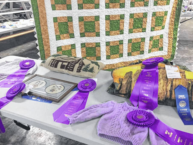 A variety of domestic arts and blue ribbons at the Meigs County Fair.