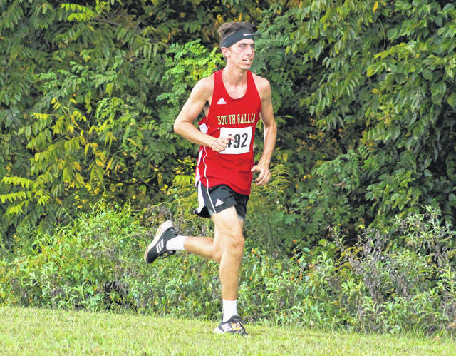 South Gallia junior Garrett Frazee hits full stride at the 2019 Skyline Lanes Invitational held at River Valley High School on Sept. 4 in Bidwell, Ohio.