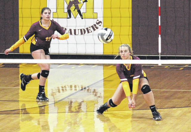 Meigs senior Bre Zirkle (right) passes the ball in front of teammate Hannah Durst (11) during the Lady Marauders' loss to Gallia Academy on Monday in Rocksprings, Ohio.