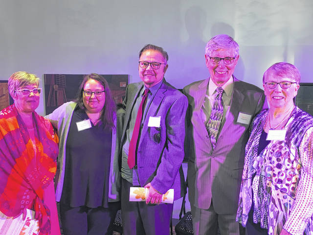 Five Appalachian Ohioans were recognized for their dedication to service at the 2019 Jenco Awards. Pictured from left to right, the 2019 awardees include Cathy Barney of Clermont County, Dottie Fromal, Theo Hutchinson, and Sam Jones of Athens County, and Jennifer Sheets of Meigs County.