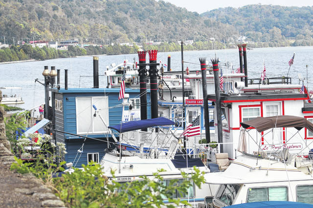 Sternwheelers lined the Pomeroy riverfront for the annual Pomeroy Sternwheel Regatta.