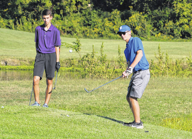 Gallia Academy sophomore Hunter Cook hits a chip shot during a Sept. 5 golf match at Cliffside Golf Course in Gallipolis, Ohio.