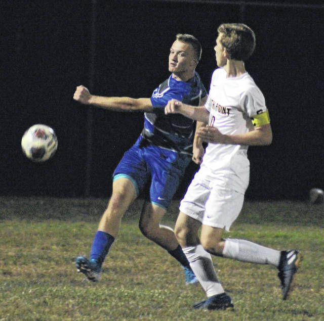 Blue Devils senior Andrew Toler shoots around a Pointers defender, during Gallia Academy's 1-0 victory on Thursday in Centenary, Ohio.