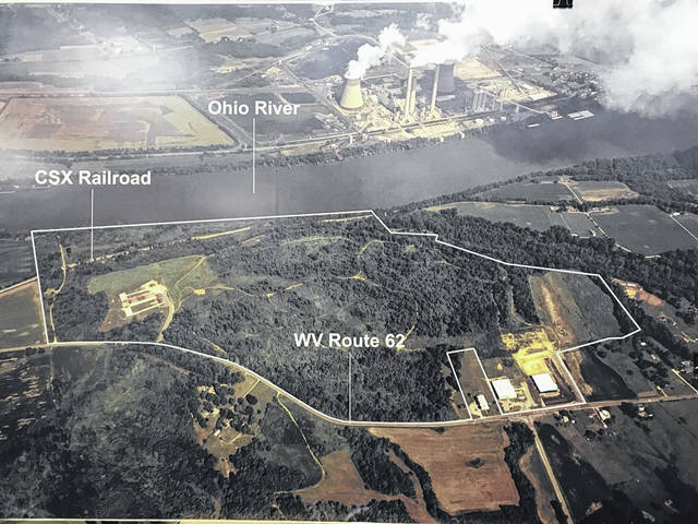 An aerial view of the Mason County Industrial Park along W.Va. 62 shows the area where the new coal to liquids plant will be placed. It will sit inside the majority of the property denoted by the white borders. Mason County is in the foreground of the photo, Gallia County and Ohio 7, is in the background.