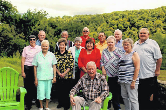 Pictured are attendees at the Eastern Class of 1959 reunion (front) Norman Hysell; (second row) Donna (Frecker) Ihle, Janice (Caldwell) Weber, Yvonne (Damewood) Stover, Ina (Mays) VanMeter, Sharon (Summerfield) Donahue, Janice (Hayma) Young, Janet (Vineyard) Gilland; (back row) Nat Carpenter, John Hill, Homer Cole, Bill Pooler, Carl Baker and Bob Burke.