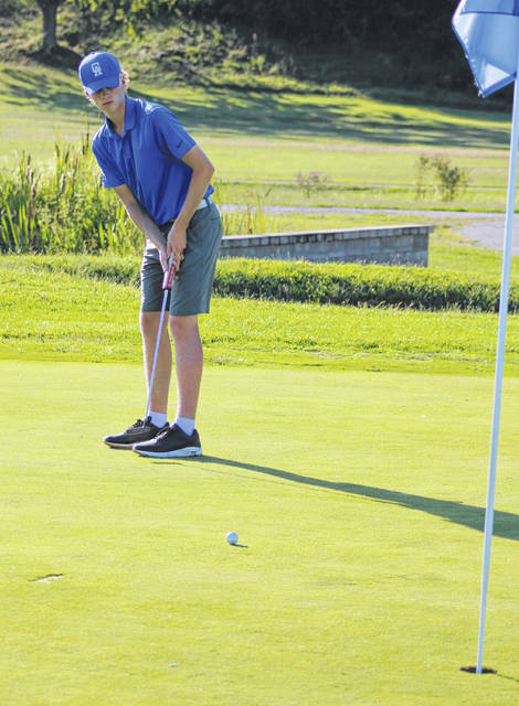 Gallia Academy senior Reece Thomas hits a putt attempt during a Sept. 5 match at Cliffside Golf Course in Gallipolis, Ohio.