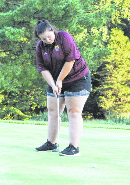 Meigs senior Mikayla Radcliffe hits a putt attempt during an Aug. 29 match at Meigs Golf Course in Pomeroy, Ohio.