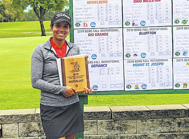 Rio Grande senior Rafaella Gioffre captured her third straight tournament championship by earning medalist honors at the Heidelberg University Fall Invitational on Sunday.