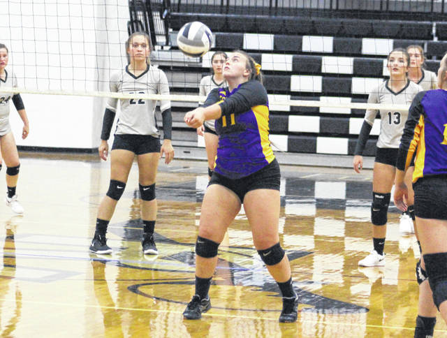 Southern senior Sydney Adams (11) bumps a ball in the air during an Aug. 22 volleyball match against River Valley in Bidwell, Ohio.