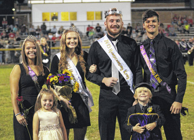 The 2019 Southern High School Homecoming royalty are pictured with the 2018 royalty and the 2019 kindergarten attendants. Pictured are (front, from left) Alia Cooper and Israel Thomas; (back, from left) 2018 Queen Peyton Anderson, 2019 Queen Phoenix Cleland, 2019 King Mark Eblin, and 2018 King Weston Thorla.