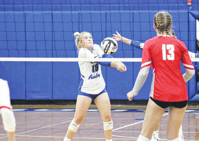 GAHS sophomore MaKenna Caldwell (18) sends the ball over the net, during the Blue Angels' 3-1 setback to Sheridan in the D-2 district semifinal on Wednesday in Londonderry, Ohio.