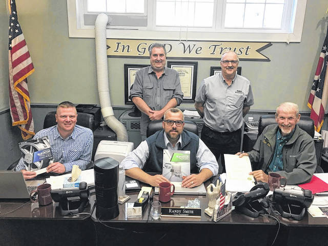 Imperial Electric representatives are pictured with the Meigs County Commissioners during the weekly meeting. Pictured are (front, from left) Commissioners Jimmy Will, Randy Smith and Tim Ihle; (back, from left) Mark Venoy, General Manager and Brian Dingey, long-time employee.