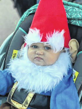 William VanMeter is dressed as a gnome for Treat Street in Pomeroy.