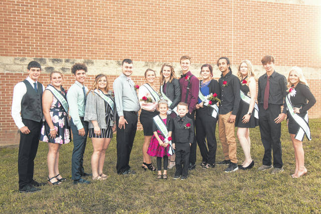 The 2019 Eastern High School Homecoming Court is pictured prior to the Homecoming game on Friday evening. The Homecoming Court included Flower Girl Abbie Bartlett and Crown Bearer Kash Gheen, Freshmen Attendant Ella Carleton, Sophomore Attendant Sophia Dye, Junior Attendant Faith Smeeks, Queen Candidates Tressa Bartimus and Hannah Faulisi, Queen Megan Ross, Freshman Escort Trenton Morrissey, Sophomore Escort Bradley Bailey, Junior Escort John Hobbs and Senior Escorts Isaac Lopez, Brayden Bush, and Colton Reynolds. (Photo courtesy of Bartee Photography)