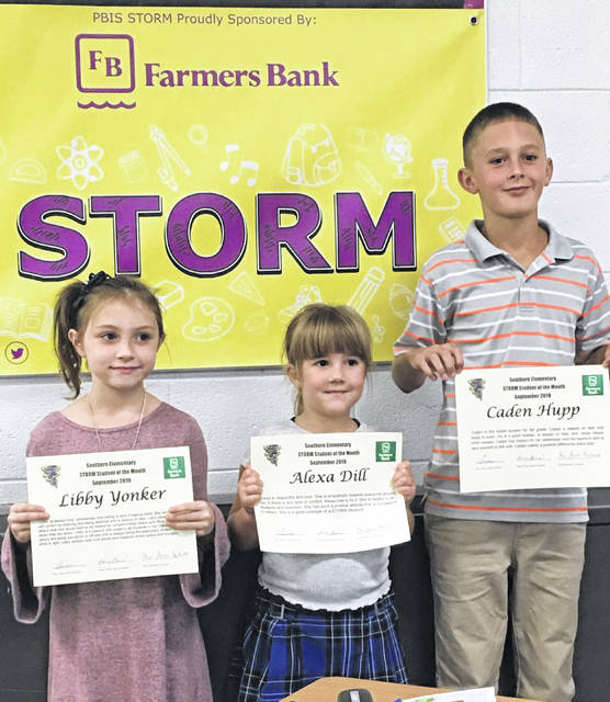STORM Students of the Month recognized were Libby Yonker, Alexa Dill and Caden Hupp.
