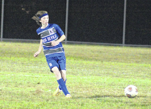 GAHS freshman Maddux Camden (13) passes the ball, during the Blue Devils' OVC win over South Point on Sept. 26 at Lester Field in Centenary, Ohio.