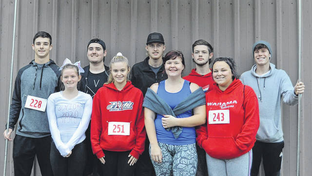 Nine members of the Wahama Class of 2020 participated in the Wahama 5K Walk/Run for Education Saturday, with all proceeds going toward scholarships for the class in the spring. Pictured, from left, are Abram Pauley, Emma Tomlinson, Avery Davis, Tayllor King, Jayvin Roush, Kierra Hendrickson, Kyher Bush, Trinity Neal, and Zach Roush. Roush was the first senior to cross the finish line, which secures him one of the scholarships.