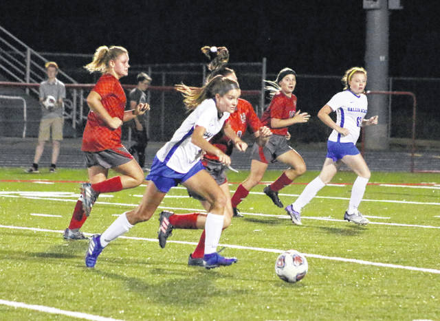 Gallia Academy senior Brooke Johnson tracks down a loose ball during the first half of a Sept. 18 girls soccer match against Piketon in Piketon, Ohio.