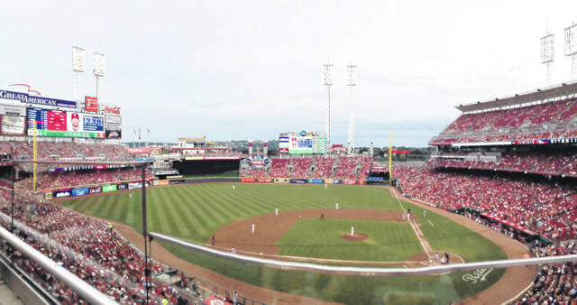 A view of Great American Ball Park in Cincinnati, which was home to famed radio announcer Marty Brennaman who retired from the broadcast booth at the end of this season.